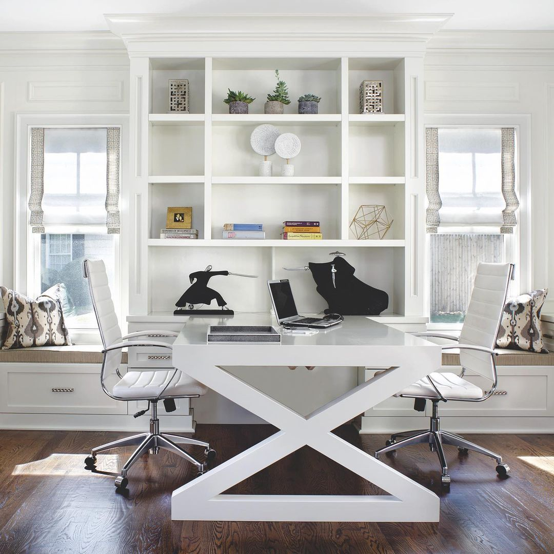 With a 48-inch width, this desk by designer Jennifer Pacca can easily accommodate one person on each side