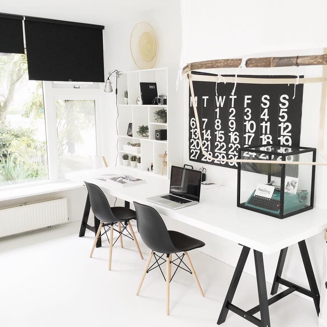 Scandi-style minimal shared workstation