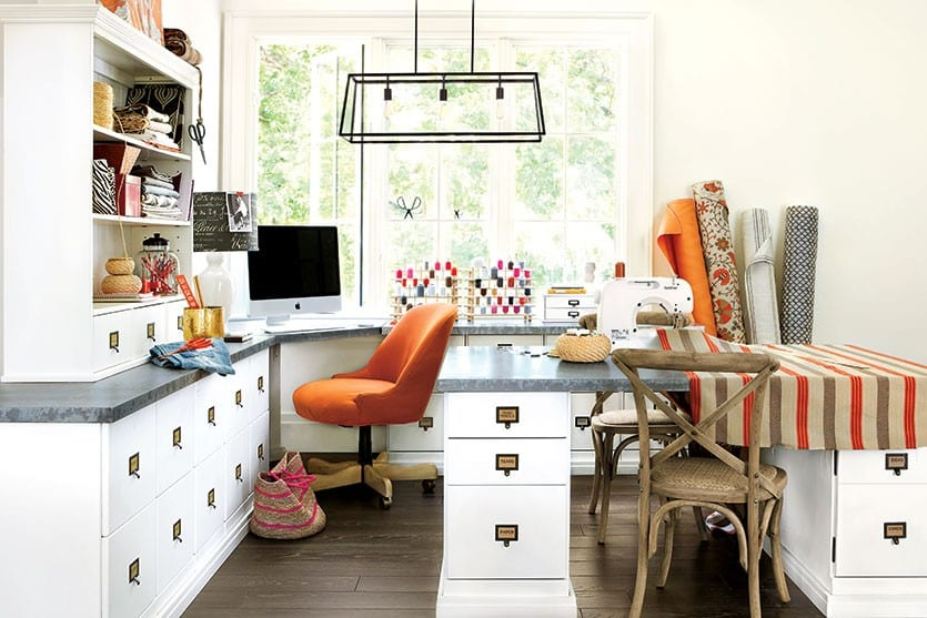 A sewing hub and a home office combined