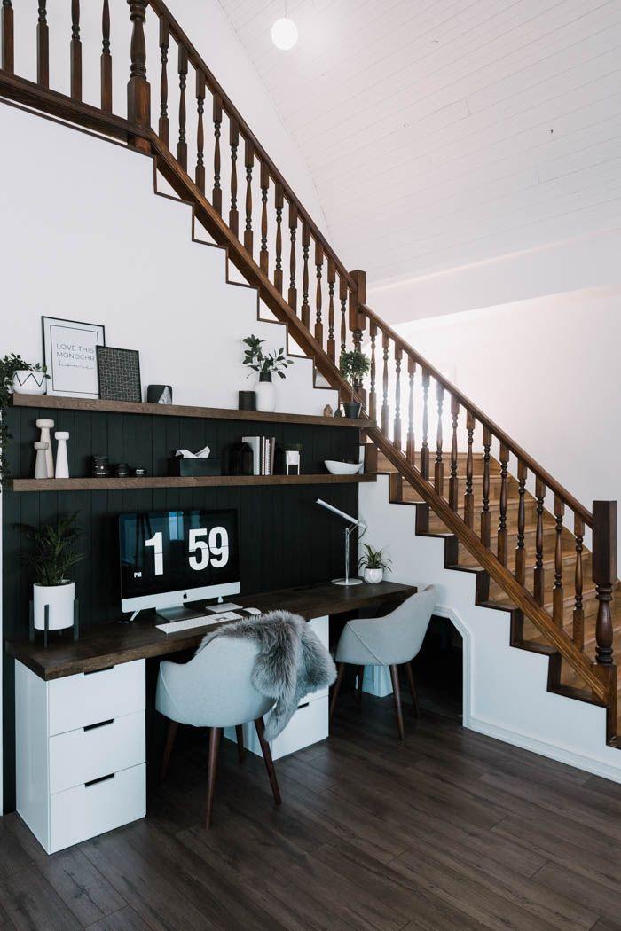 Workspace corner under the stairs
