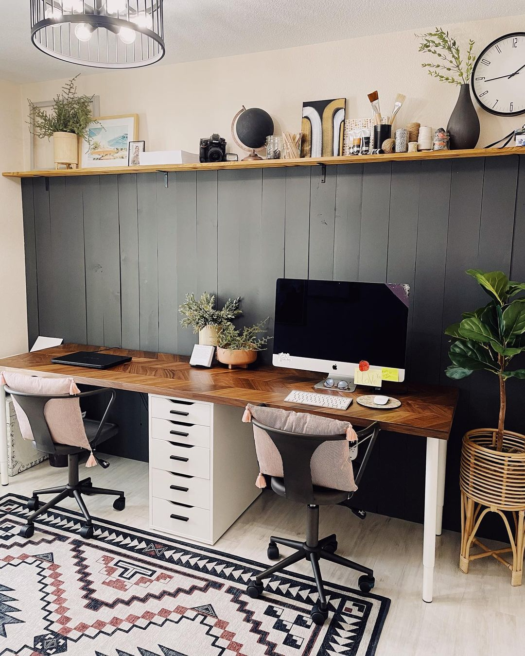 Neutral toned side-by-side office for two