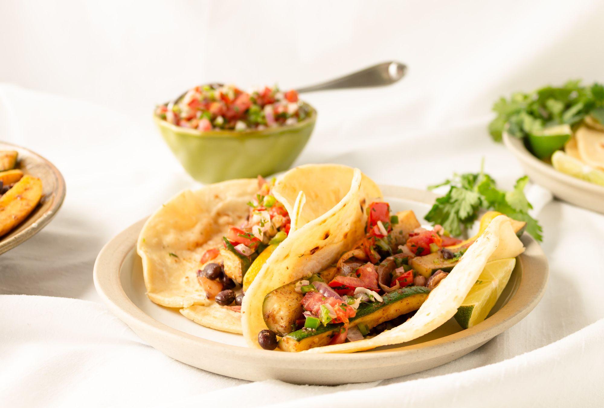 Vegan zucchini and black bean tacos