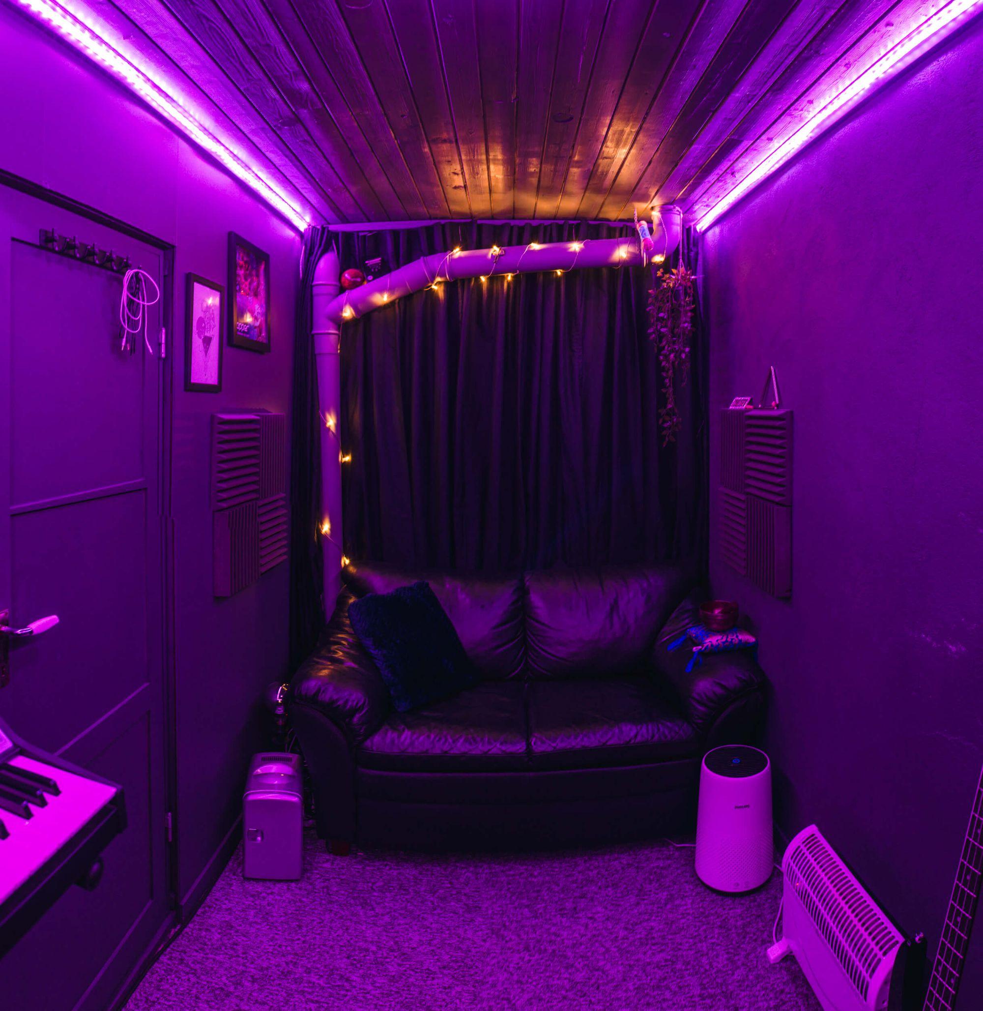 Violet-coloured lounge in Joakim's music studio