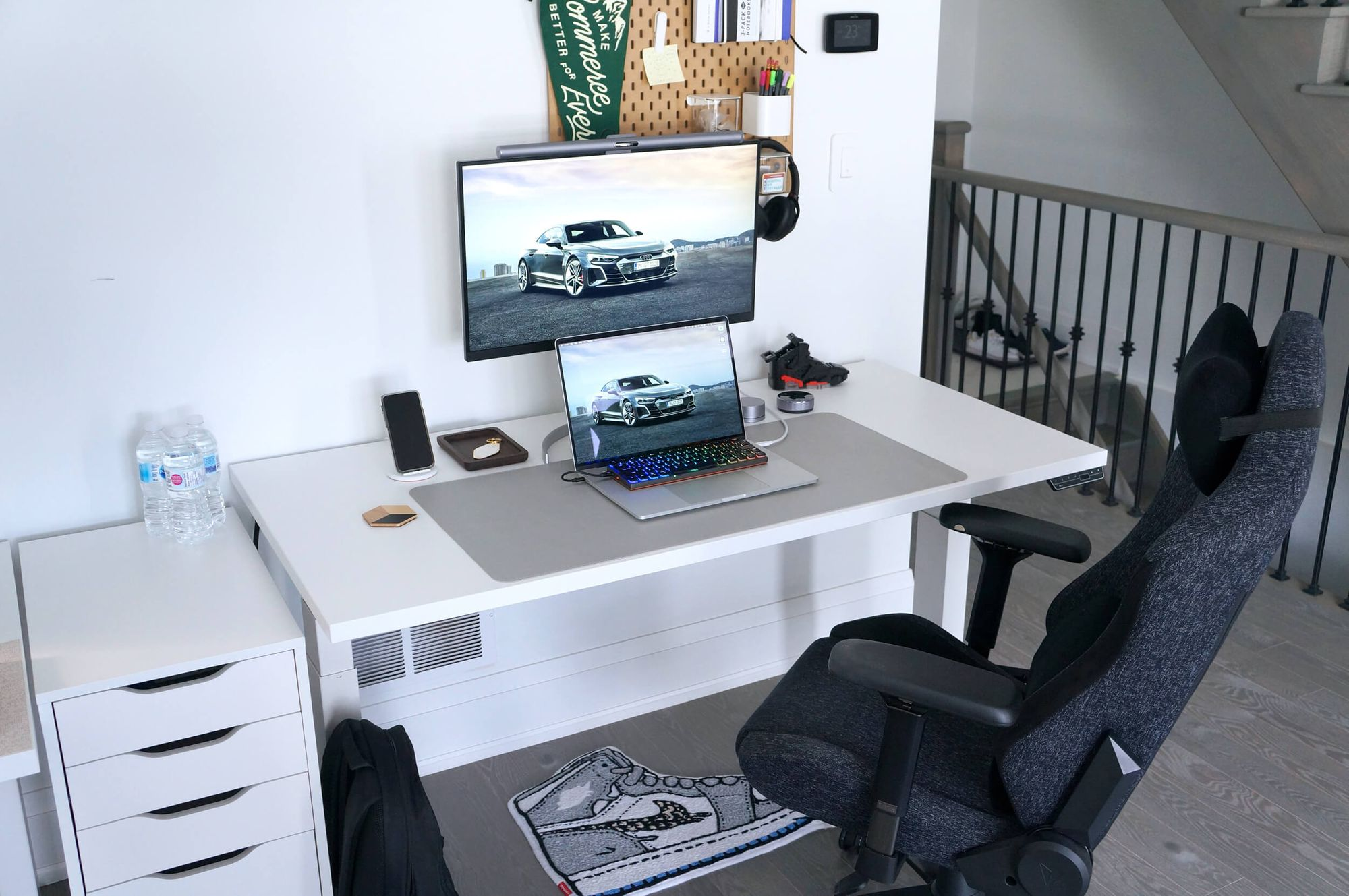 Shopify, Kevin's current employer, provided him with a desk and a chair