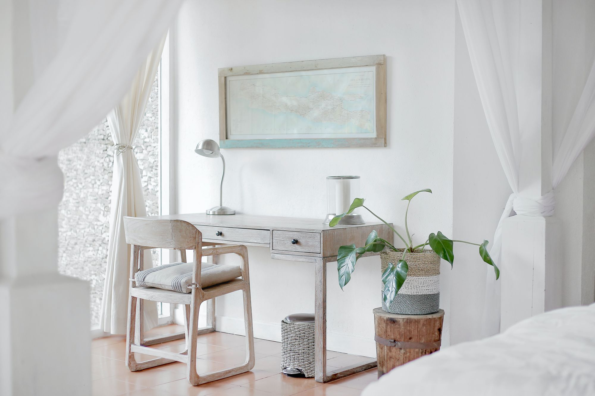 Minimal home office in a bedroom