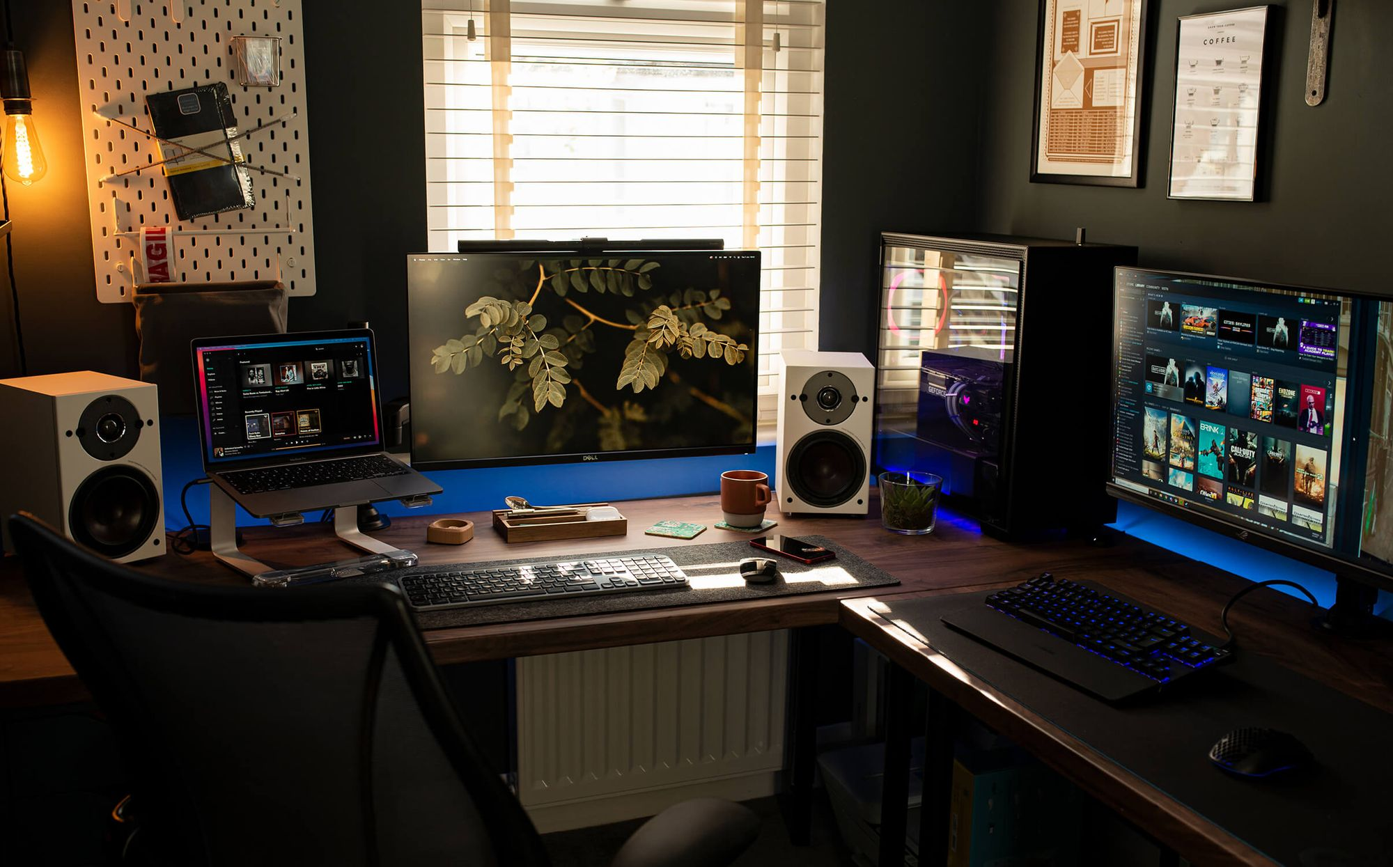 """There is a lot of natural light coming through the window. """"I enjoy being able to peer over the top of my monitor to the outside world"""""""