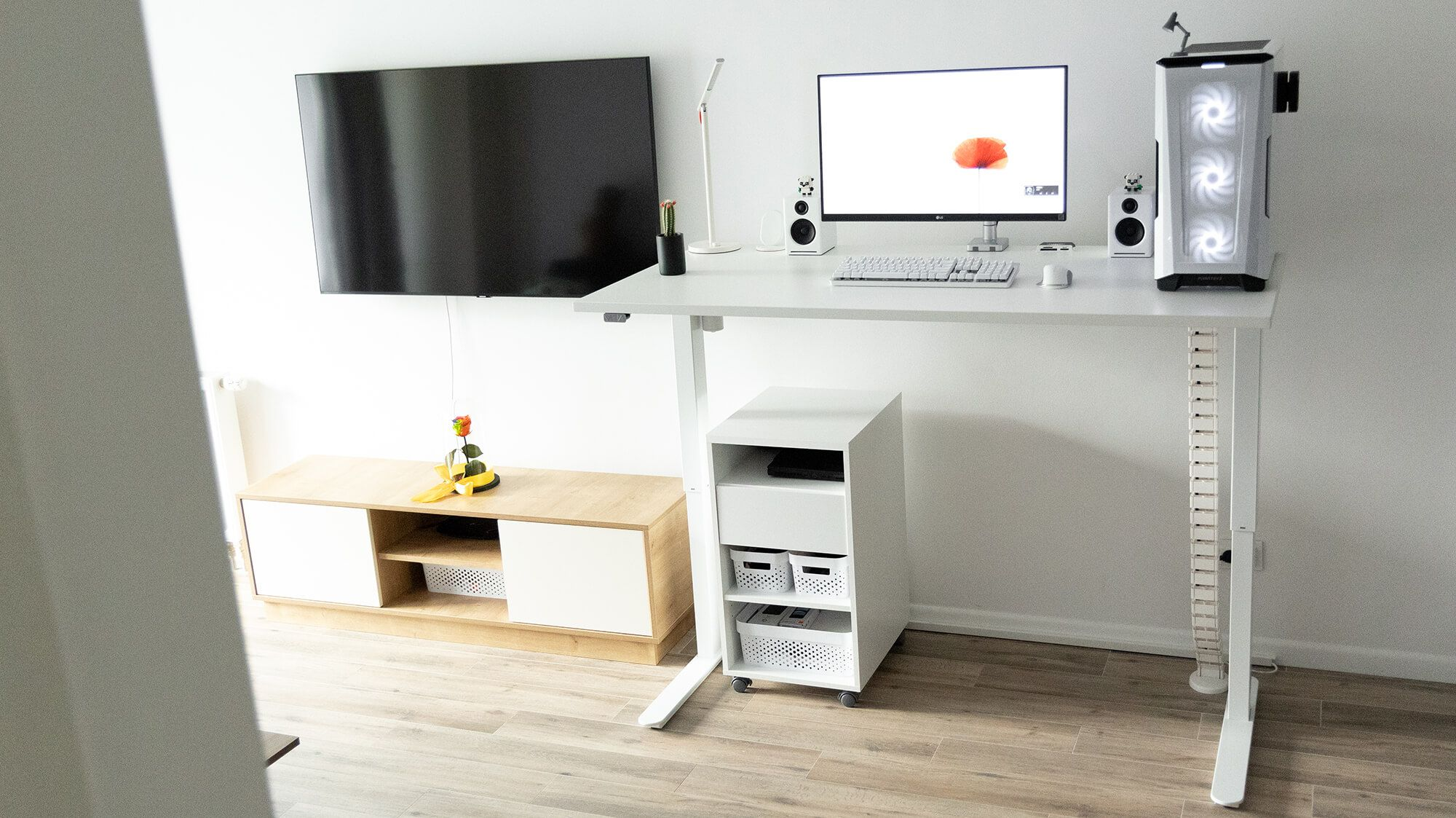 """The desk's model is SLANGERUP from the global retail chain Jysk that sells Scandinavia-inspired furniture. """"There's nothing from IKEA here"""""""
