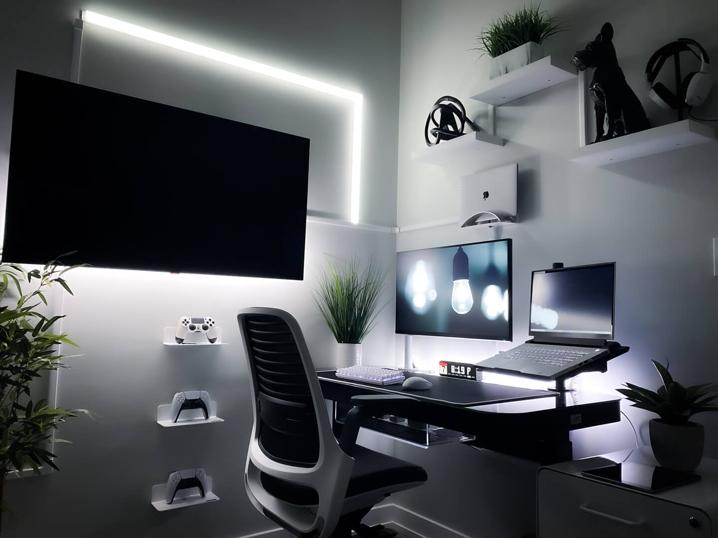 Home office with RGB lighting