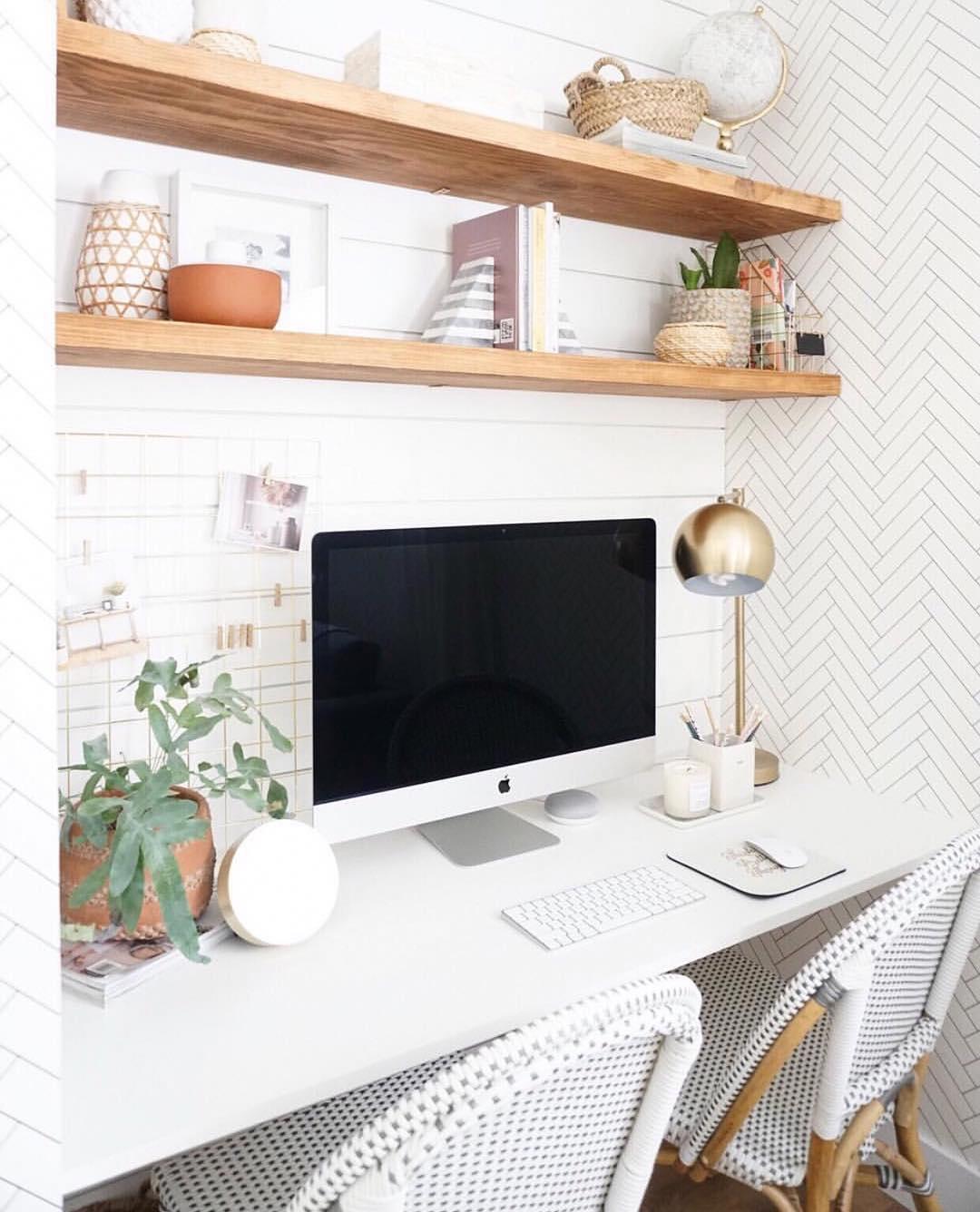 White minimal cloffice with Point de Hongrie wallpaper