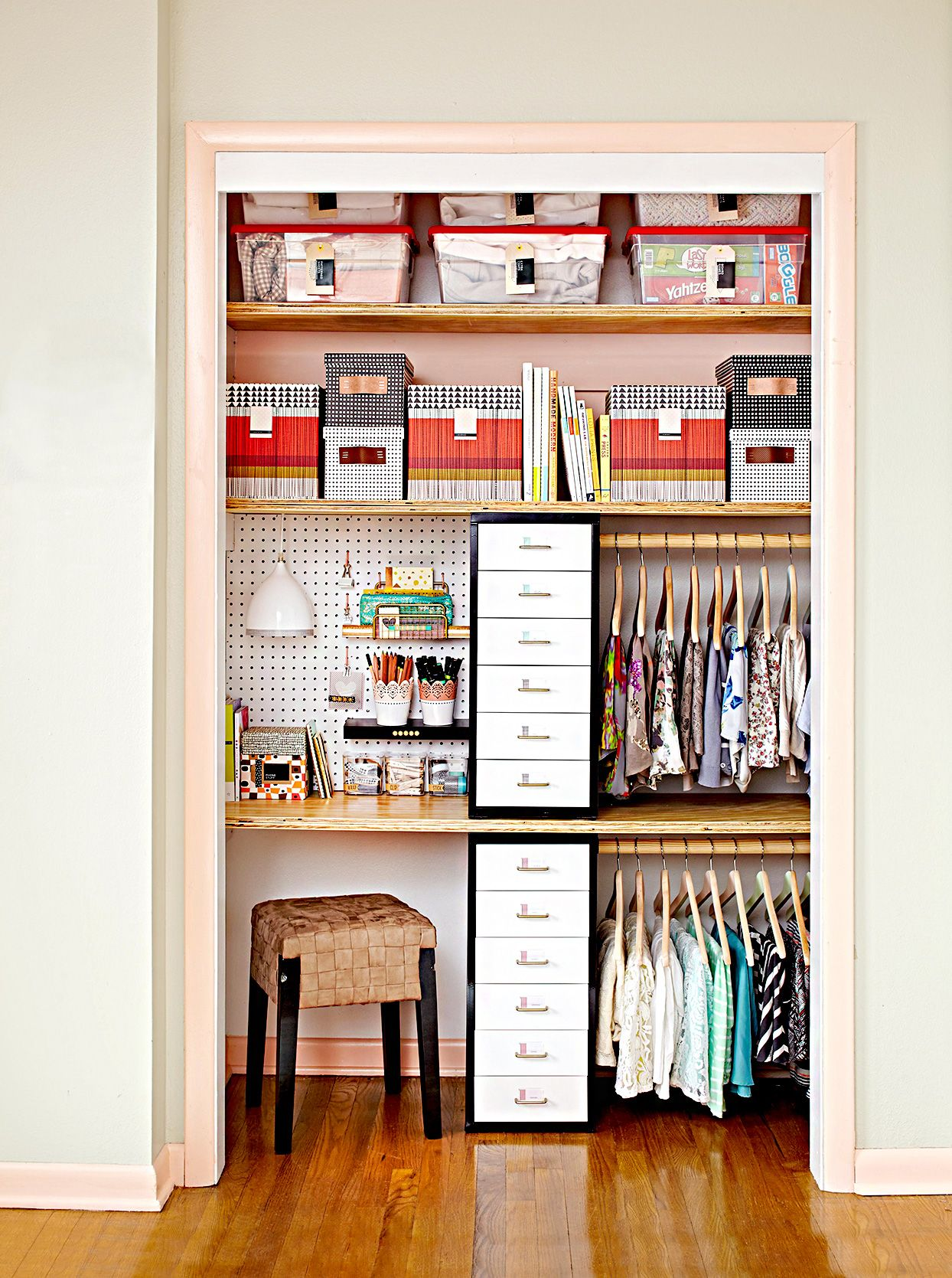 What does a cloffice, aka a home office in a closet, look like