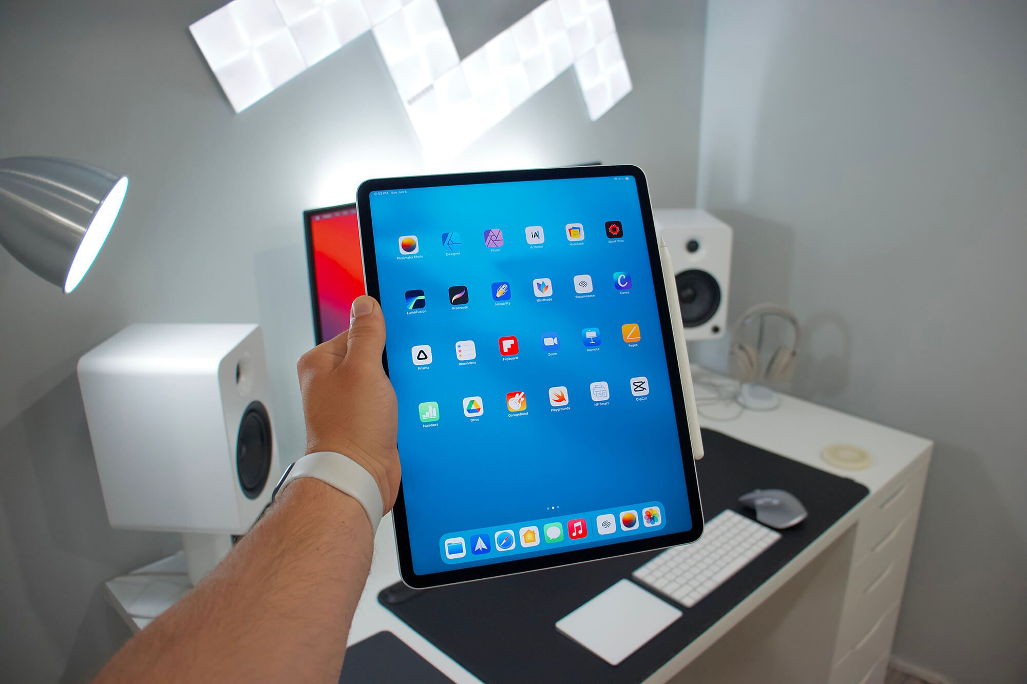 Often, Conor uses his iPad Pro as a laptop replacement