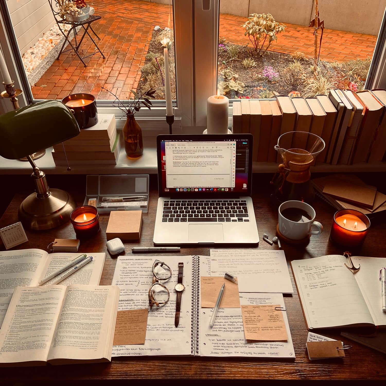 Window-facing home setup for study