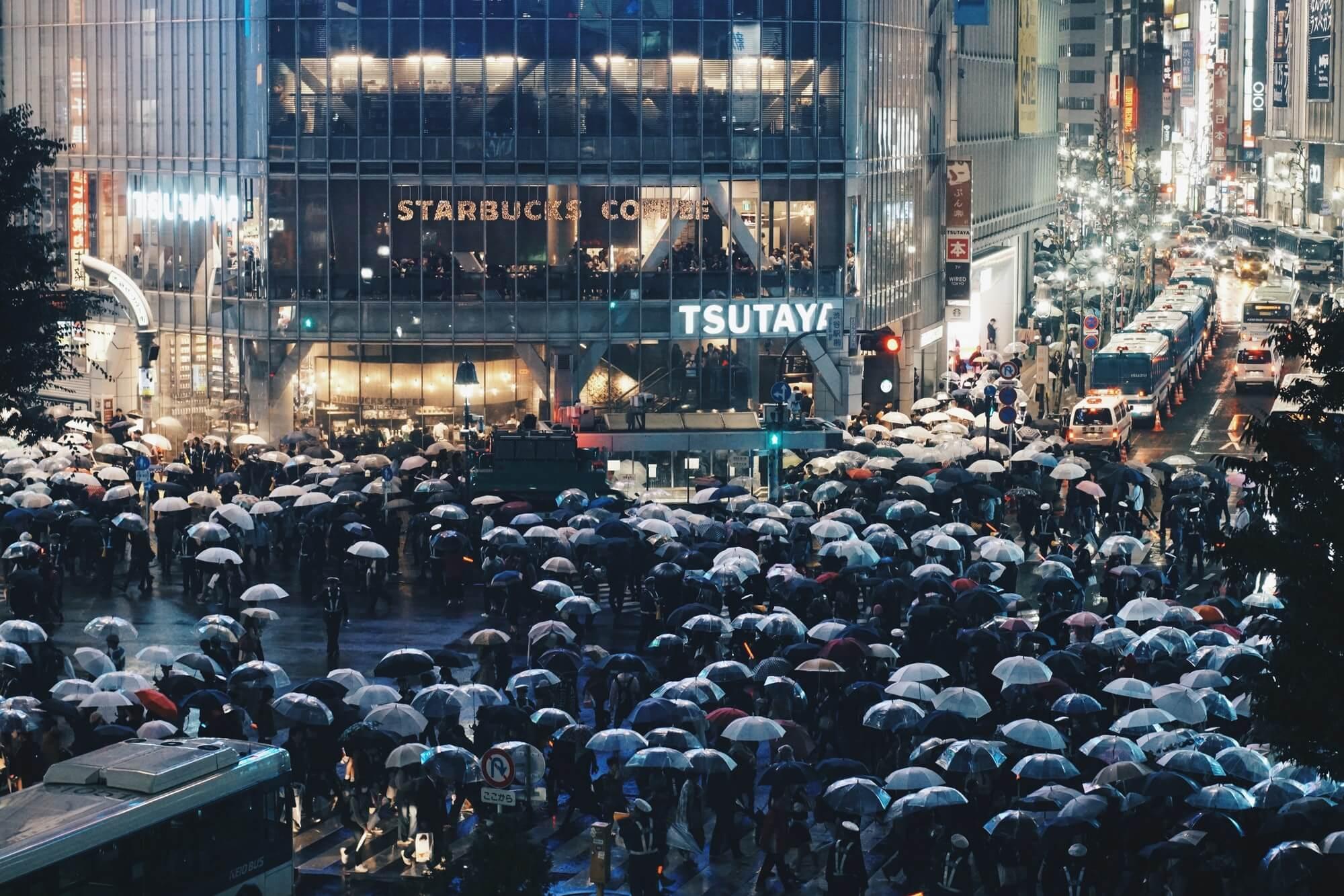Rain in Tokyo, Japan