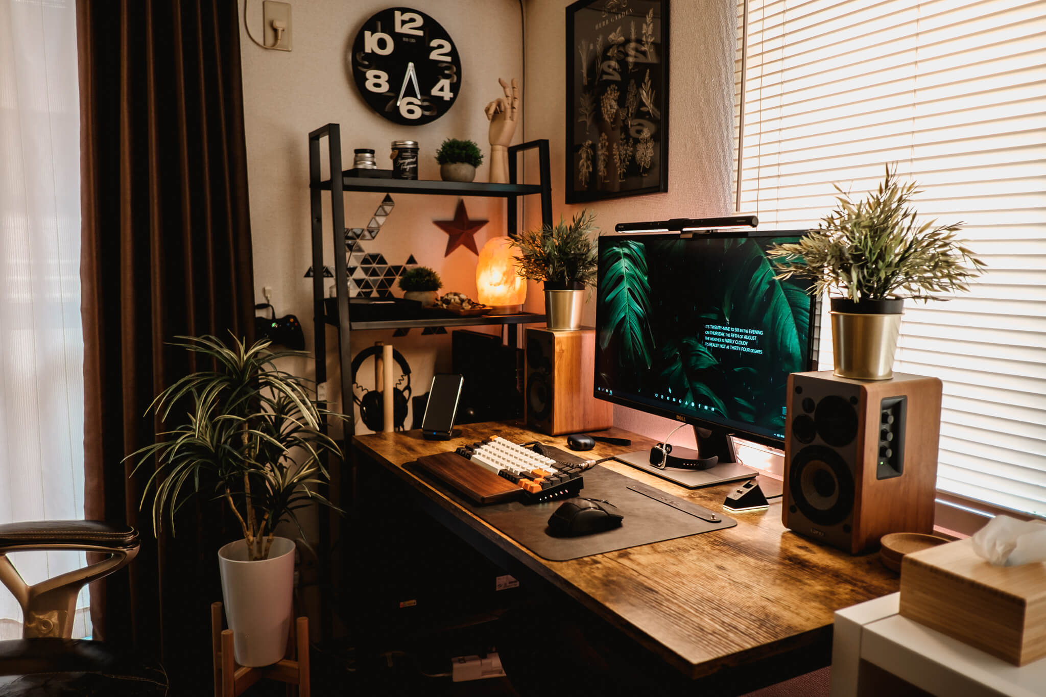 An industrial aesthetic with metallic accents combined with hints of nature is one of the ways to describe Roland's setup