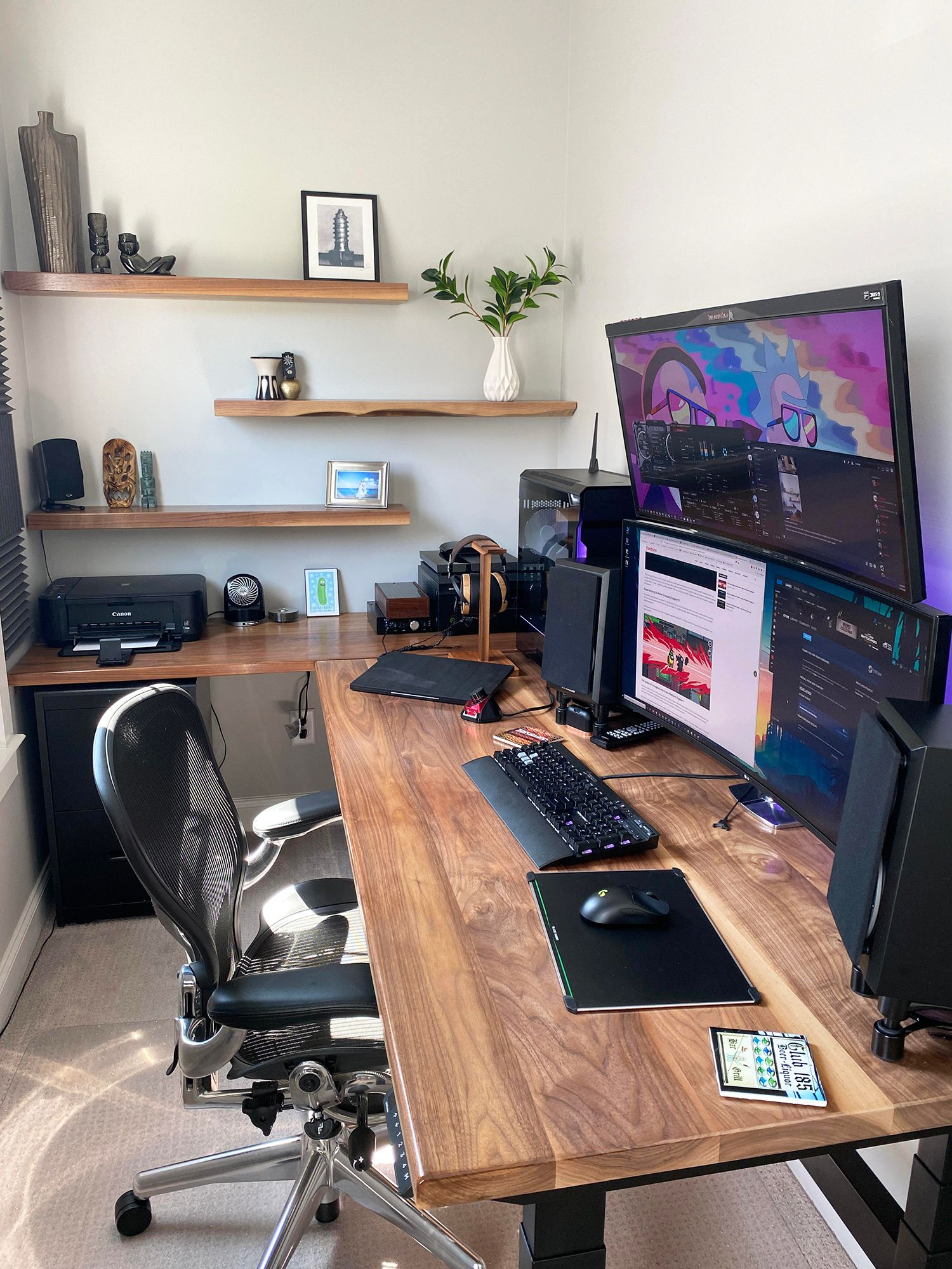 Cloffice setup inspiration. BuckeyeSouth's WFH office featuring an Aeron chair in a converted closet