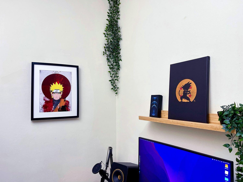 A Dragon Ball anime artwork on the wall