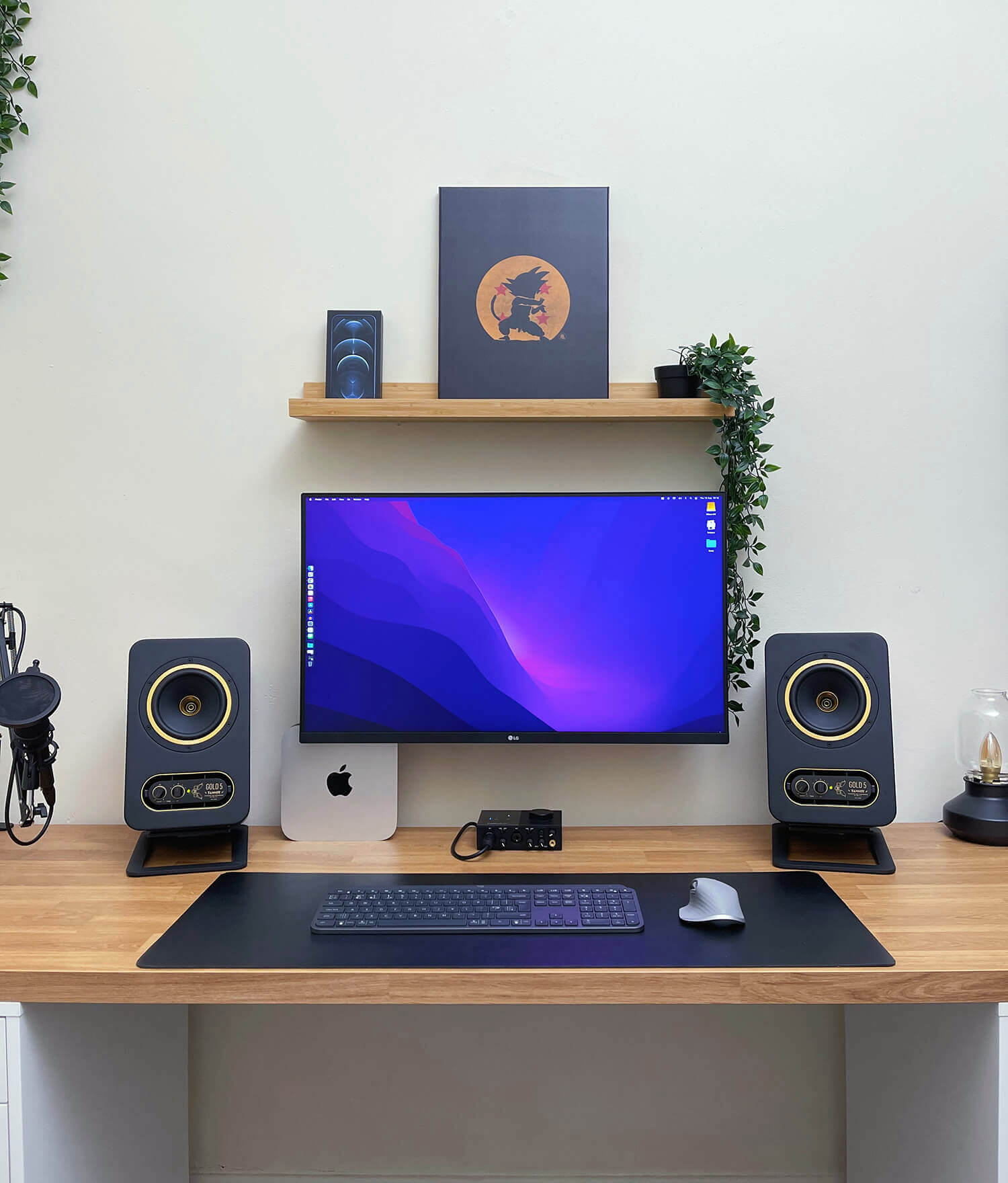 Budget WFH setup with a monitor, keyboard, mouse, and speakers